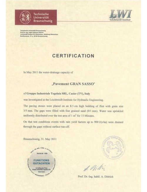Certification Gransasso