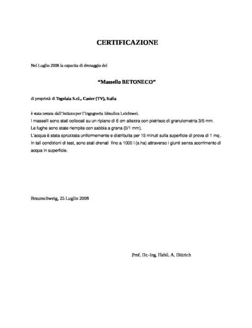 Certification Pietrella