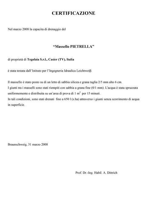 Certificazione drenaggio Pietrella